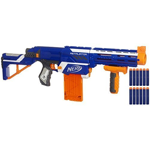 Nerf N-strike Elite Retaliator (Colors May Vary) - 4 Blasters in 1 - 3 Interchangeable Parts - Fires up to 90 Feet - Trademarks Hasbro - Played By Young & Old - Improves Family Bonding for Your Child - Nerf Water Gun Scope