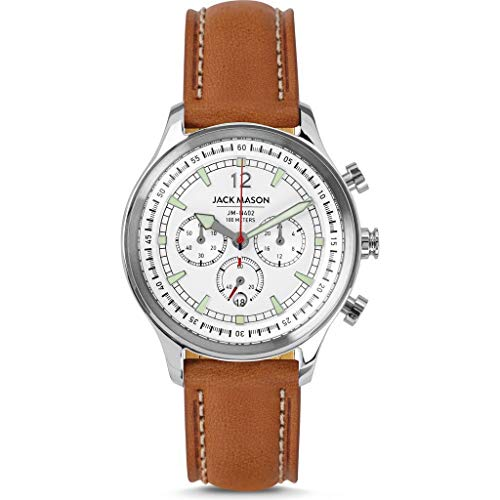 Jack Mason Nautical Chronograph Mens Watches (White & Steel w/Tan Leather Strap)