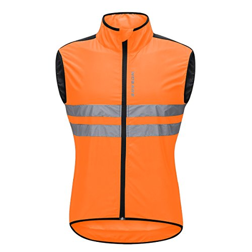 Bill&Candy Men's High Visibility Cycling Vest Sleeveless Reflective Bicycle Gilet (Orange, XX-Large) by Bill&Candy