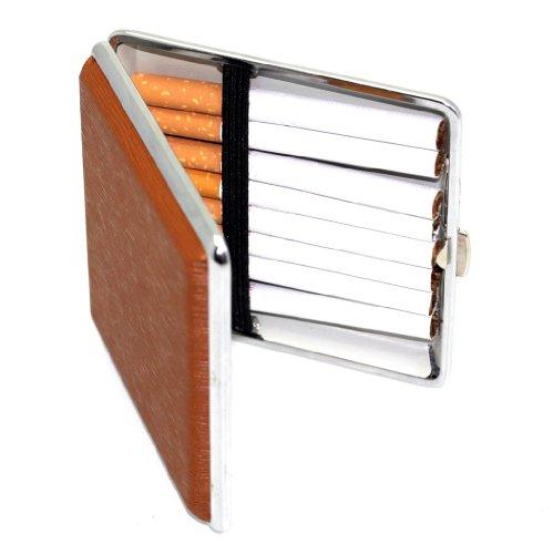 Pu Occupazione Sigarette 2 Lusso Portasigarette Supporto Designer Marrone In brown Per Fissaggio Pelle Circa Di Con 25 Commercio RUZ8wqwXn