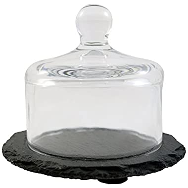 Paderno World Cuisine Mini Slate Tray with Glass Dome, 4-3/8-Inch, Black