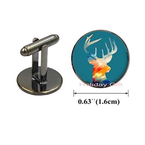 - Elk Deer Antlers Long Cufflinks Color Abstract Elk Picture Glass Art Printing Gem Cuff Links Cufflinks HTY-170