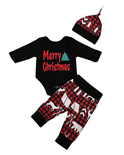 Yoveme Baby Boy First Christmas Outfit My First Christmas Newborn Long Sleeve with Hat and Pants Sets