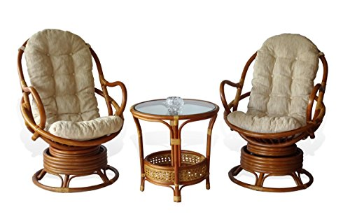 3 PC Java Swivel Rocking Chair Natural Handmade Rattan Wicker Colonial Set: 2 Lounge Arm Chairs with White Cushions and Pelangi Colonial Coffee Table - Swivel Rocking Set