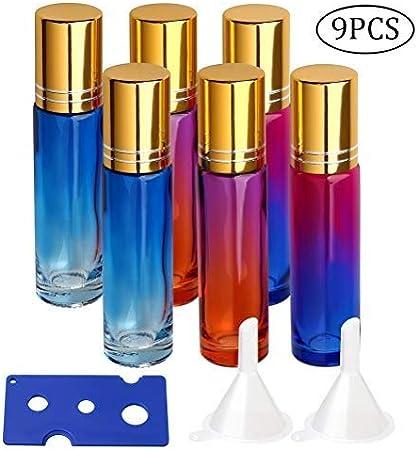 pengxiaomei Botellas de Cristal de 10 ml, Botellas de Rodillo de Vidrio Degradado para aromaterapia, aceites Esenciales, perfumes (Viene con un abridor de Botellas y Dos embudos pequeños)