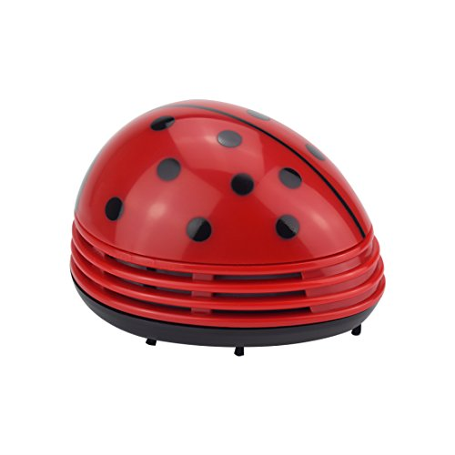 Beetle Pet Sofa - Eleshroom Mini Battery Vacuum, Cute Ladybug Cordless Table Dust Vacuum Cleaner Desk Sweeper for Cleaning Dust, Crumbs, Paper Scraps, Pencil Shavings, Homework Eraser Debris, Cigarette Ash, Pet Hairs