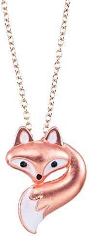 Cute Little Fox Head and Tail on 18'' Link Chain Necklace with 3'' Extension [並行輸入品]