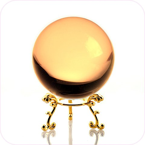 Amlong Crystal Yellow Crystal Ball 60mm (2.3 in.) Including Golden Flower Stand and Gift Package -