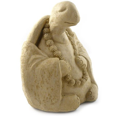 Meditating Turtle - Cast Stone Garden Sculpture : large size, antique stone finish