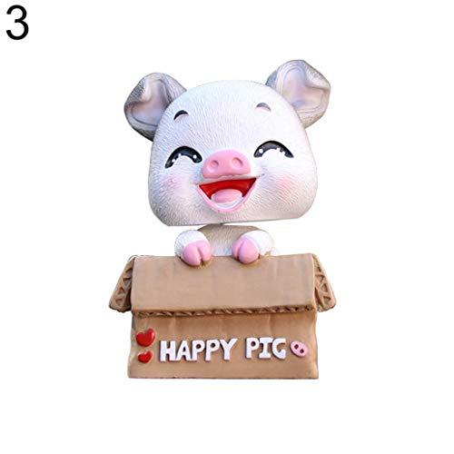 Pig Crown Race - Misszhang-US Lovely Cartoon Pig Shake Head Car Interior Resin Ornament Dashboard Decor Gift - 3#