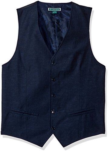 Cubavera Men's Easy Care Linen Blend Vest, Dress Blues, XXL