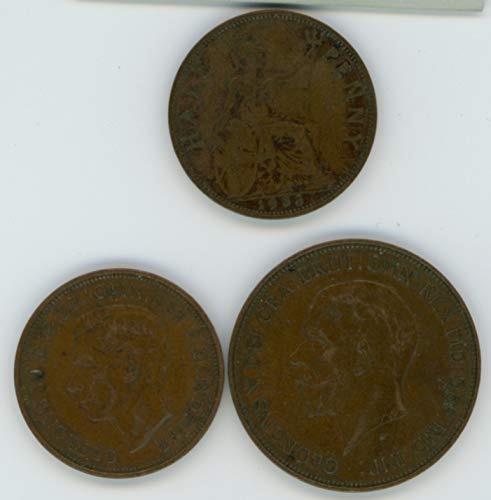 (UK 1933, 1936, 1938 Lot of (3) Great Britain Half Penny and One Penny Coins Fine/VF)