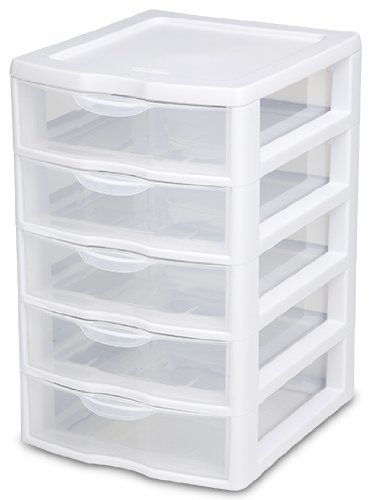 Sterilite 20758004 Small 5 Drawer Unit, White Frame with Clear Drawers, 4-Pack - 5 Drawer Storage