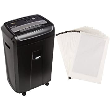 AmazonBasics 24-Sheet Cross-Cut Paper Shredder with Pullout Basket and  Shredder Sharpening & Lubricant Sheets (Pack of 12) Bundle