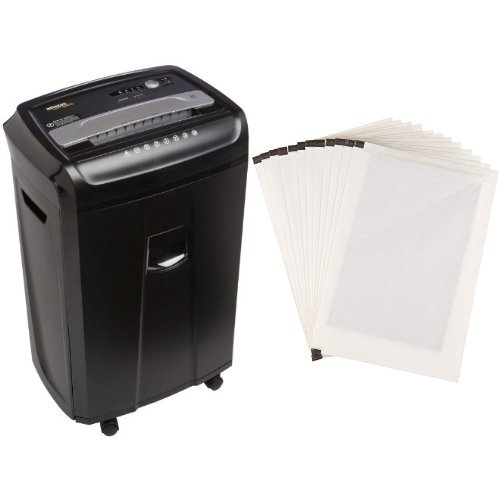 AmazonBasics 24-Sheet Cross-Cut Paper Shredder with Pullout Basket and Shredder Sharpening & Lubricant Sheets (Pack of 12) Bundle by AmazonBasics