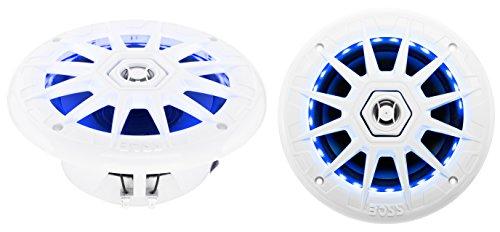 BOSS Audio MRGB65 200 Watt (Per Pair), 6.5 Inch, Full Range, 2 Way Marine Speakers, (Sold In Pairs) Multi Color LED Illumination with Wireless Radio Frequency ()