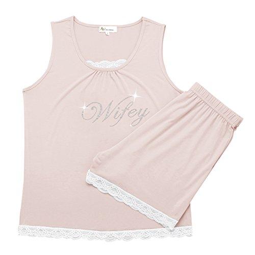 AWEI BRIDAL Personalized Bridal Pajamas Sleepwear Sets for Women Sexy Lace Pajama Set(Wifey), Shell Pink M (Personalized Pjs)
