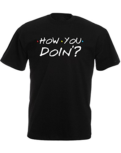 How You Doin'?, Mens Printed T-Shirt - Black/White/Transfer L