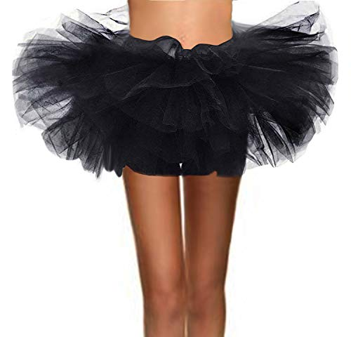 ASSN Women's Classic 80s Mini Puffy Tutu Halloween Run Bubble Ballet Skirt 6-Layered Black Plus ()