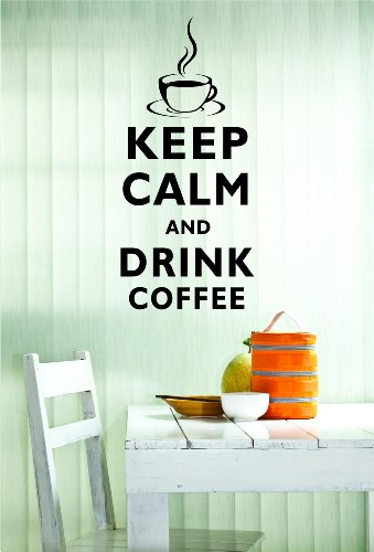Keep Calm and Drink Coffee 22x10 Inches Symbol Matte Black Vinyl Silhouette Keypad Track Pad Decal Window Wall Quotes Sayings Art Vinyl Decal
