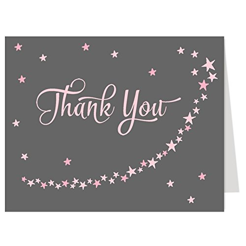 Baby Shower Thank You Cards Twinkle Little Star Girls Over the Moon Wish Upon a Star, Pink, Gray, Grey, Sprinkle, Birthday, Kids, 50 Folding Notes with White Envelopes, Twinkle Star, Gray with Pink