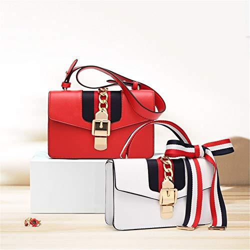 Pu bolsa La Simple Gxsce Cadena bolso Bandolera Pequeño Cuadrado Bolso Casual Mano Joker cuero Moda blanco bolso Rojo bolso De B1x1q7w