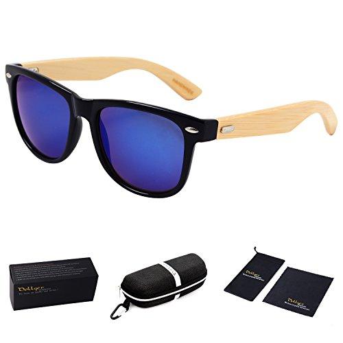 Dollger Handmade Sunglasses Bamboo Wooden Eyewear Vintage Wayfarer Sunglasses Mirror Lens (Blue Mirror Lens+Bamboo Wood Frame)