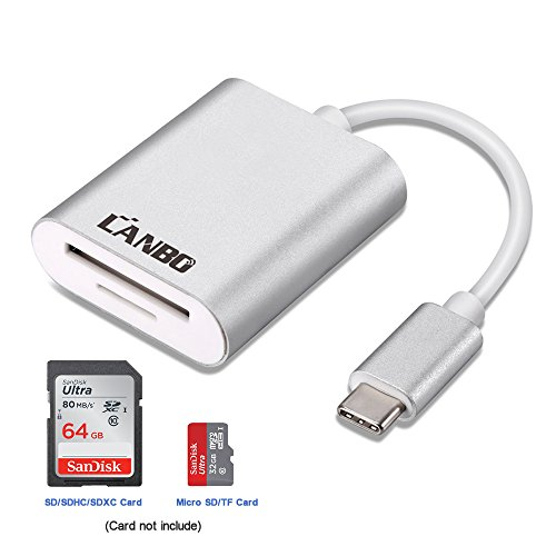 USB C Card Reader,LANBO Aluminum USB 3.1 Type C Memory Card Reader adapter Supports SD,SDHC,SDXC Card/Micro SD Card /TF Card for 2016/2017 MacBook Pro and more USB C Devices …
