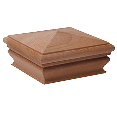 Four Cedar (Woodway Pyramid Post Cap 4 x 4 – Cedar Wood Outdoor Fence Cap for Garden, Deck and Patio - 1PC)