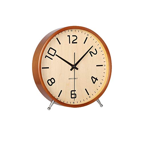 KAMEISHI 8 Inch Desk Clocks Battery Operated Wood Silent Non-Ticking Large Numerals Analog Table Clock Round Sweep Quartz Movement Mantel and Tabletop Clocks Decor HD Glass Easy to Read KSZ828 Brown