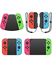 MENEEA Game Handle Connector for Nintendo Switch Joy-Con, 5-in-1 Gamepad Handle with Wrist Strap for NS Switch Grip