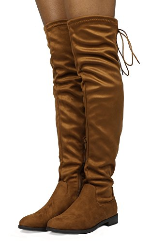 DREAM PAIRS Women's Suede Over The Knee Thigh High Winter Boots Tan-lace