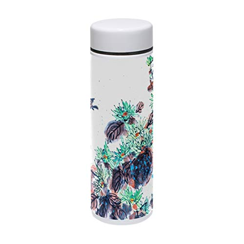 White Foral Ink Painting Coffee Mug To Go Water Bottle Travel Cup Tumbler Drink Flasks Insulation Mini 220ml