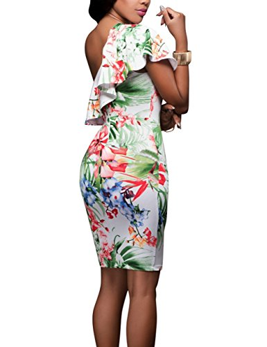Femme Seule Épaule Yiwa Impression Sexy Costume Robe Nuit De Fête Club Cadeau Porter 2083