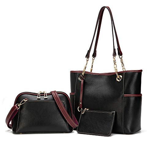 PINCNEL Handbags for Women Fashion Tote Bag Shoulder Bag Top Handle Satchel Purse Set 3pcs(Black)