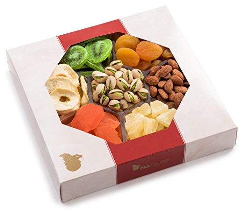 Nut Cravings Extra-Large Dried Fruit and Nut Gift Basket – Holiday Gift Tray w/ 7 Different Dried Fruits & Nuts – & Decorative Box
