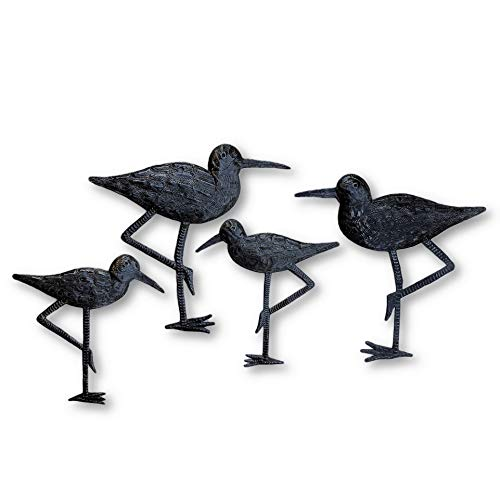 New Sandpiper Coastal Birds, Ornamental Sea Birds, Decorative Home Art, Nature Inspired, Handmade in Haiti (4, Large & Small) 8.5