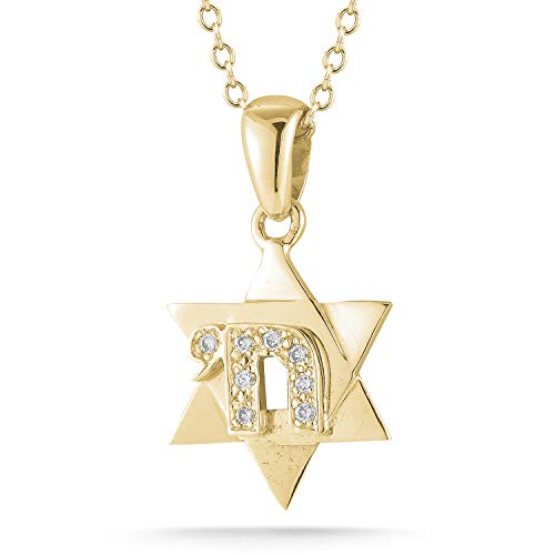 I REISS 14K Yellow Gold 0.08ct TDW Diamond Accent Star of David Pendant with Chai Necklace