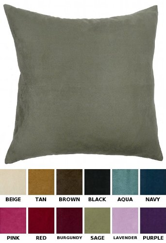 DreamHome - Solid Faux Suede Decorative Pillow (Cover And Insert), 18