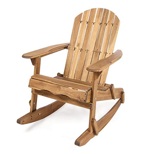 Great Deal Furniture 304034 Muriel Outdoor Natural Finish Acacia Wood Adirondack Rocking Chair, Stained