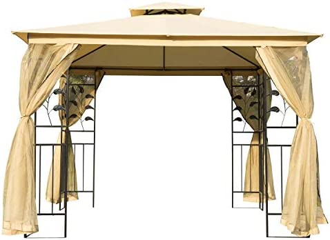 Outsunny 10' x 10' Steel Fabric Rectangle Outdoor Gazebo
