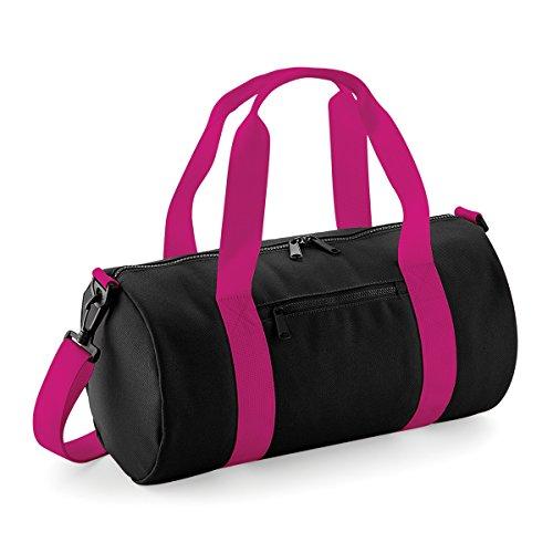 BagBase bolsa de lona el mini bolso del barril 12L 40x20x20cm Rojo clasico Off White Black/ Fuchsia