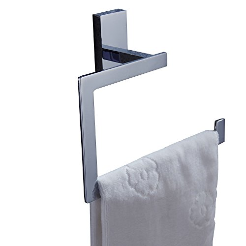 Brass Square Base (AUSWIND Contemporary Brass Square Base Towel Ring,Chrome Finished Bathroom Hardware K4)