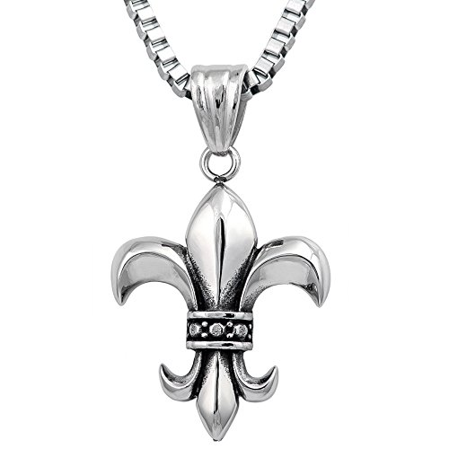 36MM STAINLESS STEEL LARGE ANTIQUE, VINTAGE FLEUR DE LIS OXIDIZED SILVER TONE PENDANT Necklace Chain Combo 16in, 18in, 20in, 24in (16 inches)