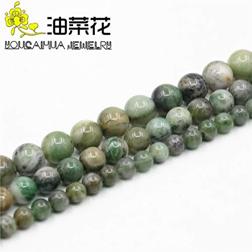 Calvas Round 6 8 10MM Green Bamboo Leaf Onyx Necklace Natural Stone Beads Necklace DIY Fashion Jewelry Making Design Mother's Day Gifts - (Item Diameter: 6mm)