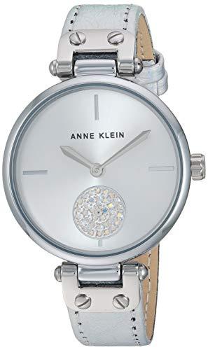 (Anne Klein Women's AK/3381SVSI Swarovski Crystal Accented Silver-Tone Leather Strap Watch)