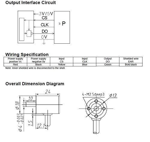 CALT HAE18 14 Bit 16384 Resolution Hall Magnetic Angle Rotary Encoder SSI Absolute Type (5V 14bit) by Calt (Image #2)