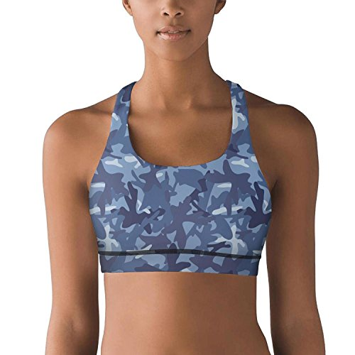 Eoyles gy Light Support Woman Blue Camouflage Athletic Comfortable Yoga Bra