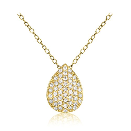 Hoops & Loops Yellow Gold Flashed Sterling Silver Cubic Zirconia Teardrop Slide Necklace