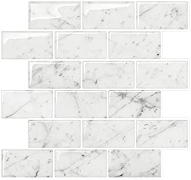 STICKGOO Marble Look Peel and Stick Subway Tile, Stick on Wall Tiles,  Self-Adhesive Kitchen backsplash (Pack of 10, Thicker Design)